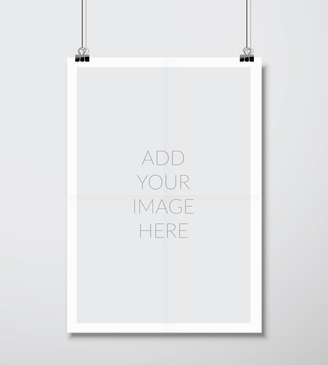 Empty A4 sized vector paper frame mockup hanging with paper clip